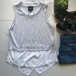 W5 Anthropologie Grey And White Knitted Layer Top